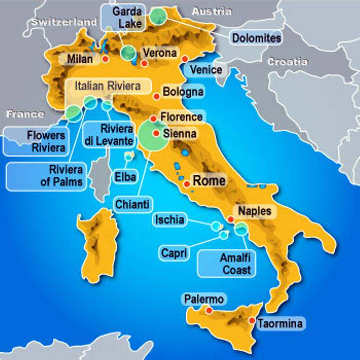 Tourist Cities In Italy Map Italy map blank political with cities
